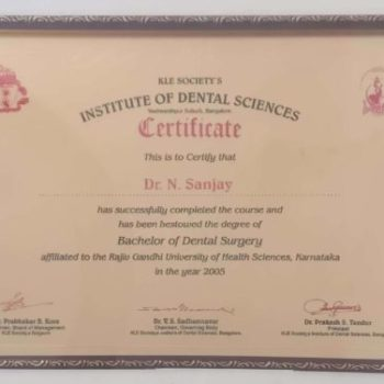 Dr Sanjay BDS dentist in bangalore