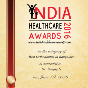 Dr. Sanjay awarded as best orthodontist in Bangalore