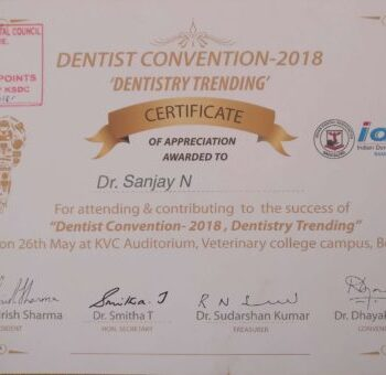 dr sanjay dentist convention award